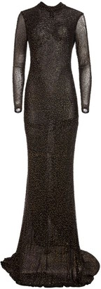 Alice + Olivia Delora Long-Sleeve Embellished Gown