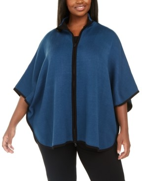 Anne Klein Plus Size Zip-Front Poncho Cardigan