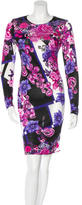 Versace Floral Print Long Sleeve Dress