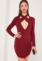 Missguided Halterneck Plunge Curve Hem Bodycon Dress Burgundy