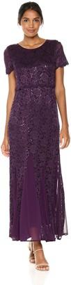 R & M Richards R&M Richards Women's Lace Popover Long Dress With Godets Missy Dress
