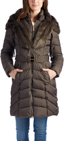 Laundry by Shelli Segal Taupe Faux Fur-Trim Puffer Coat