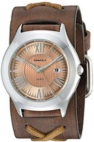 Nemesis Women's 099BFXB-P Pink Roman Casual Series Faded X Analog Japanese Quartz Brown Patent Leather Watch