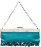 Devi Kroell Crystal Embellished Satin Clutch