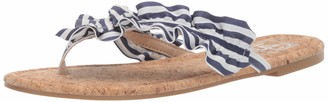 LFL by Lust for Life Women's LL-Indy Flat Sandal Navy Stripe 6 M US