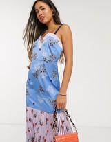 Liquorish cami dress with pleats in mixed floral print