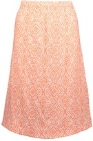 Fresh Produce Women's Casual Skirts WHT - White & Coral Geometric Tidepool Midi Skirt - Women