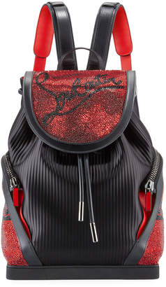 Christian Louboutin Men's Explorafunk Embellished Pinstripe Backpack