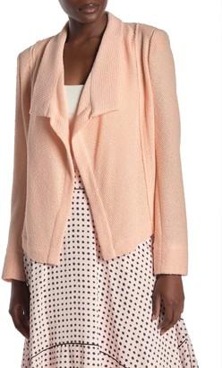 Badgley Mischka Textured Drape Front Jacket