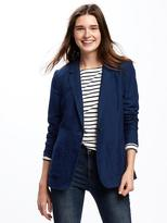 Old Navy Indigo-Dobby Linen-Blend Blazer for women