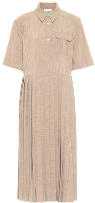 Ganni Pleated midi shirt dress