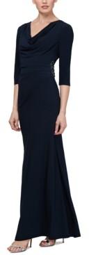 SL Fashions Embellished Cowlneck Gown