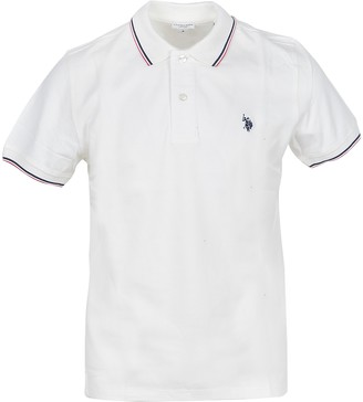 U.S. Polo Assn. White Pique Cotton Men's Polo Shirt