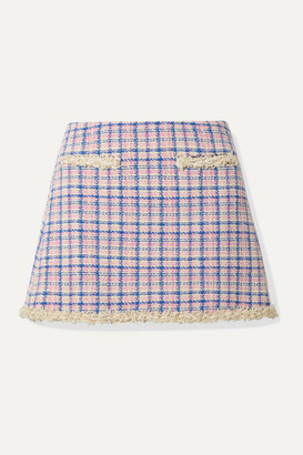 Marc Jacobs Frayed Checked Cotton-tweed Mini Skirt - Ivory