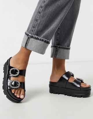 Bershka chunky platform sandal with gem detail in black