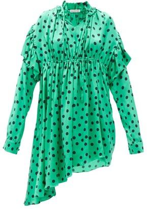 Balenciaga Polka-dot Gathered Silk-satin Dipped-hem Dress - Green Print