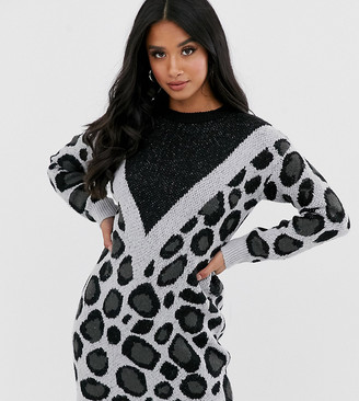 Brave Soul Petite simba chevron animal print sweater dress