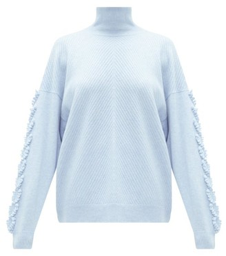 Barrie High-neck Embroidered-sleeve Cashmere Sweater - Womens - Light Blue