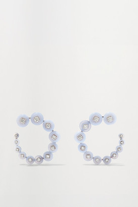 Fernando Jorge Surrounding 18-karat White Gold, Diamond And Chalcedony Earrings - one size