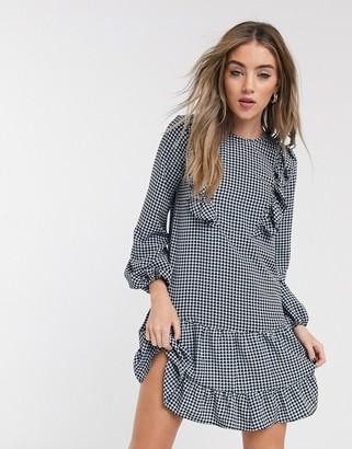Topshop ruffle detail mini dress in blue check