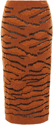Stella McCartney Zebra-print Boucle Jacquard-knit Wool-blend Midi Pencil Skirt