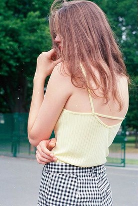 Side Party - Lena Square Neck Tank Top - M / Pale yellow