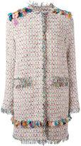 MSGM embroidery detail coat - women - Cotton/Linen/Flax/Acrylic/Metallic Fibre - 44