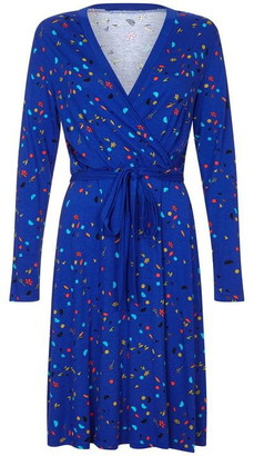 Yumi Curves Abstract Printed Plus Size Jersey Wrap Dress