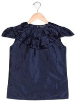 Oscar de la Renta Girls' Silk Ruffle-Accented Top
