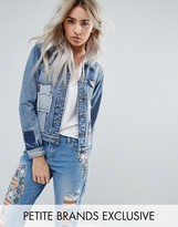 Urban Bliss Petite Plaid Patchwork Denim Jacket