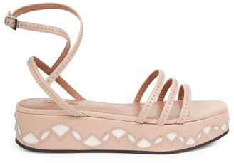 Alaia Studded Leather Flatform Sandals