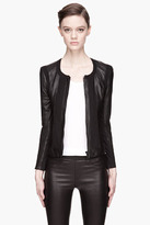 Helmut Lang Black Leather and twill Pax Jacket