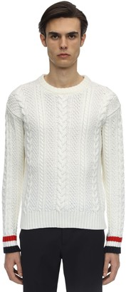 Thom Browne Aran Cable Knit Wool Crewneck Sweater
