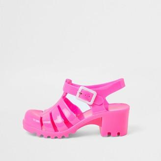 River Island Girls pink jelly heeled sandal