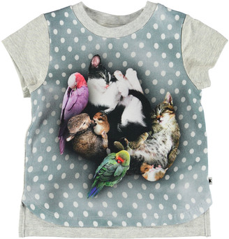 Molo Erin Pets Sleeping Graphic Short-Sleeve Tee, Size 6-24 Months