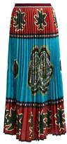 Stella Jean Kanga-print pleated crepe skirt