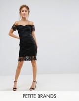 Chi Chi London Petite Lace Bandeau Midi Dress With Sweetheart Neck