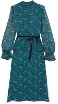 Anna Sui Star Burst Printed Crinkled Silk-chiffon Dress - Teal