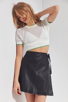 Silence & Noise Silence + Noise Vegan Leather Asymmetrical Mini Wrap Skirt