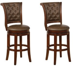 """Charlton Home Sansome Swivel Bar & Counter Stool Color: Espresso, Upholstery: Coffee, Seat Height: Counter Stool (24"""" Seat Height)"""