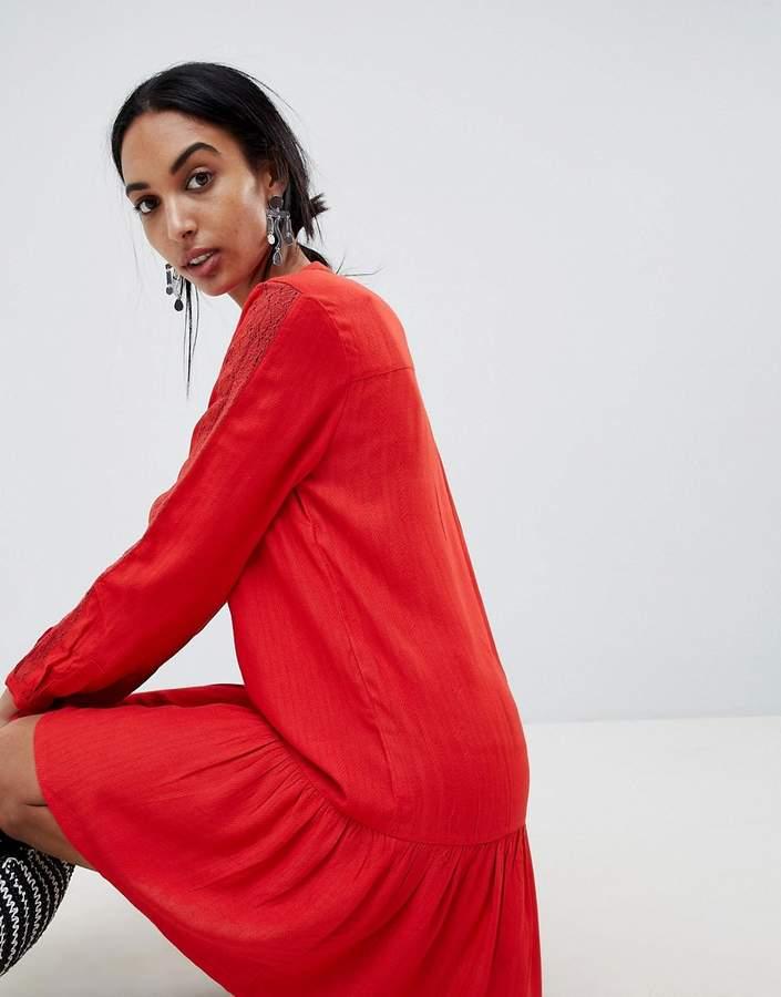 B.young Collarless Shirt Dress