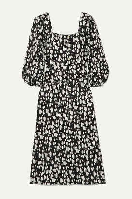 Mother of Pearl + Net Sustain Poppy Faux Pearl-embellished Printed Lyocell Midi Dress - Black