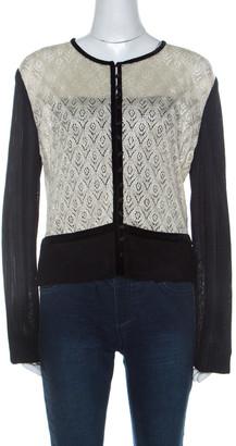 St. John Cream Lurex Crochet Knit Contrast Trim Button Front Cardigan L