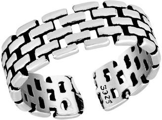 Aeravida Handmade Stylish Watch Strap Motif Adjustable .925 Sterling Silver Ring