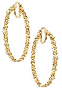Nadri Lux Cubic Zirconia & Chain Hoop Earrings