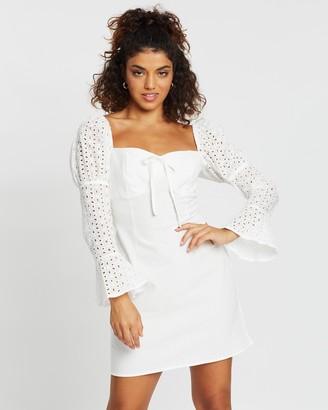 Missguided Petite Broderie Sleeve Milkmaid Dress