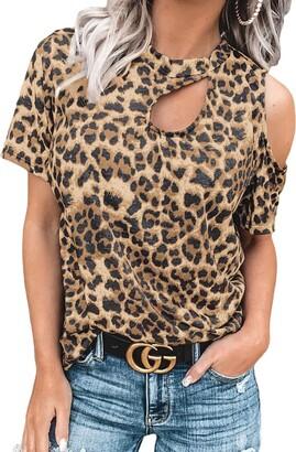 FANGJIN Women's One Off Shoulder Tshirts Clothing Plus Size Sexy Leopard Cut Out T-Shirt Juniors tees Basic Clothes Cheetah t-Shirts Short Sleeve Shirts Tops Leopard Cut Out T-Shirt 10-12