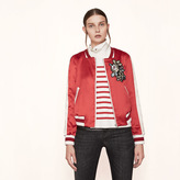 Maje Varsity-style embroidered satin jacket