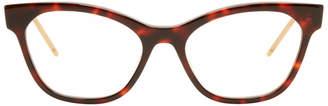Gucci Tortoiseshell GG Stripe Cat-Eye Glasses