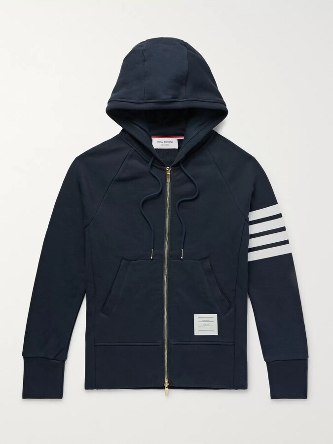 Thom Browne Slim-Fit Striped Loopback Cotton-Jersey Zip-Up Hoodie - Men - Blue